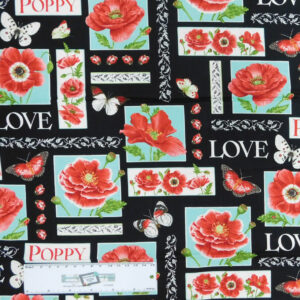 Patchwork Quilting Sewing Fabric LOVE POPPY FLOWERS 50x55cm FQ CottonNew