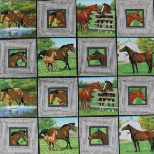 Patchwork Quilting Sewing Fabric HORSES SQUARES Panel 40x110cm New