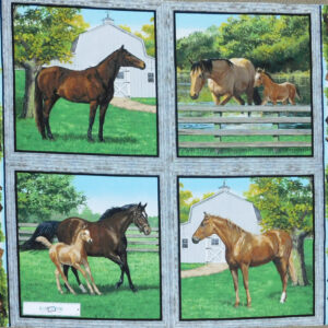Patchwork Quilting Sewing Fabric SUMMER HORSES SET 4 Panel 90x110cm New