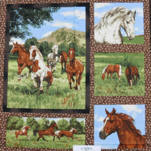 Patchwork Quilting Sewing Fabric RUNNING FREE HORSES Panel 82x110cm New