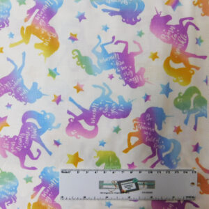 Patchwork Quilting Sewing Fabric MAGICAL UNICORN 50x55cm FQ Cotton New
