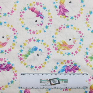 Patchwork Quilting Sewing Fabric MAGICAL UNICORN Metallic 50x55cm FQ New