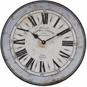 Clock French Country Vintage Inspired Wall CAFE DE LA TOUR Blue Rim 38cm NEW