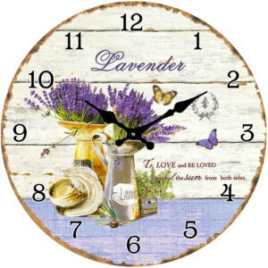 French Country Chic Retro Inspired Wall Clock Small 17cm LAVENDER TO LOVE New