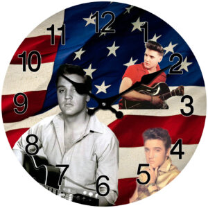 French Country Chic Retro Inspired Wall Clock 30cm ELVIS WITH FLAG New