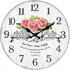 French Country Chic Retro Inspired Wall Clock 30cm PINK LA VIE EN ROSE New