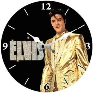 French Country Chic Retro Inspired Wall Clock 30cm ELVIS WITH GOLD JACKET New