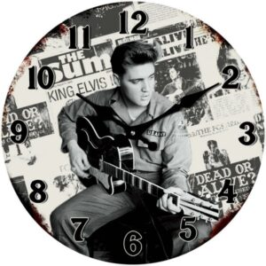 French Country Chic Retro Inspired Wall Clock Small 17cm ELVIS ARMY New