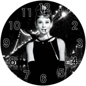 French Country Chic Retro Inspired Wall Clock 30cm AUDREY HEPBURN New