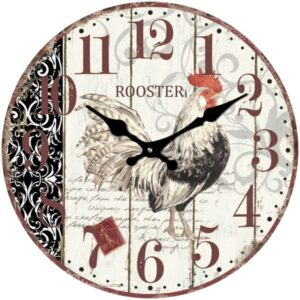 French Country Chic Retro Inspired Wall Clocks 17cm WHITE CHICKEN New Time