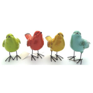 French Country Ornaments SET 4 Birds Standing Blue Green Red Yellow New