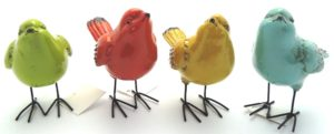 French Country Ornamental SET 4 Birds Standing Collectable Blue Green Red Yellow New