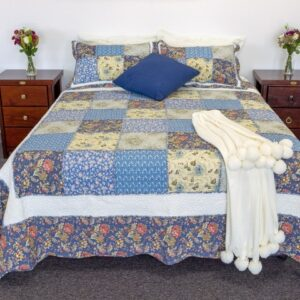 French Country Vintage Inspired Patchwork Bed Quilt BLUE GAZA Coverlet New
