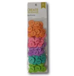 Sewing and Craft Packet of 90 Assorted Colours Buttons BRIGHTS Pink Purple Orange New
