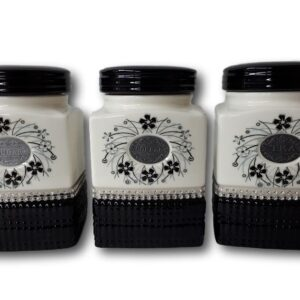 French Country Elegant Kitchen Canisters Tea Coffee Sugar BLACK & WHITE with Seals NEW