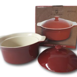 French Country Elegant Kitchen RED CASSEROLE Stoneware Dish Oven, Microwave NEW