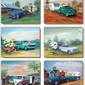 Country Kitchen CLASSICS & CARAVANS Cork Backed Placemats or Coasters Set 6 NEW Cinnamon