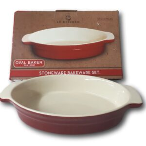French Country Elegant Kitchen RED OVAL Stoneware Dish Oven, Microwave NEW