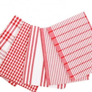Country Vintage Modern look Tea Towels Cotton Dish Cloths set 5 RED New