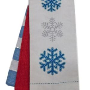 Set of 3 New Tea Towels Kitchen CHRISTMAS SNOWFLAKE BLUE Teatowels NEW