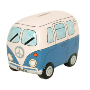 French Country Chic Kombi Money Box Blue Campervan Design China New Freepost