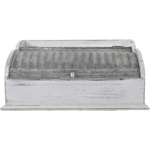 French Country Hamptons Styled Kitchen Bread Box WHITEWASH with Corri Tin Lid New