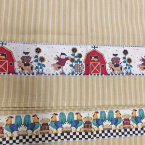 Country Style New Tea Towels Set of 2 CHICKEN BARNS Handmade Teatowels NEW