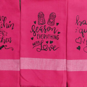 Set of 3 Modern Country New Tea Towels Kitchen Sayings PINK Handmade Teatowels NEW
