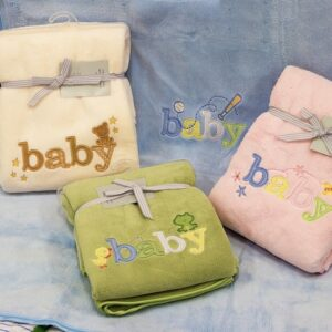 Embroidered Baby Blanket Throw Pink Blue Yellow or Green Colours Soft & Fluffy New