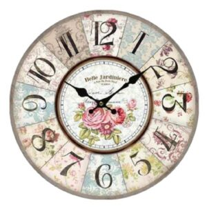 Clock Country Vintage Inspired Wall Clocks 34CM BELLE JARDINIERE FLORAL New
