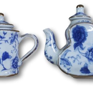 French Country Lovely Teapots BLUE BREEZE SET OF 2 MINI China Tea Pots New