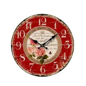 Clock Country Vintage Inspired Wall Clocks 34CM HOME SWEET HOME FLORAL New Time