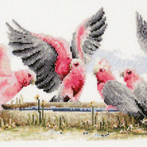 Country Threads Cross Stitch Kit Galahs by the Water Pump Australian Birds New FJ1006