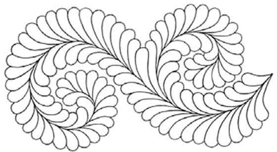Quilting Full Line Stencil Fancy Feather Reusable For