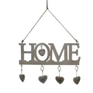 French Country Vintage Metal Distressed White Home Hanger Hearts Sign New
