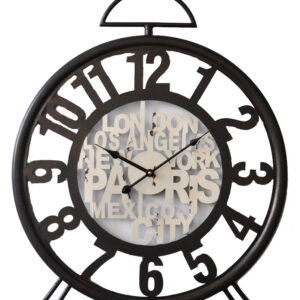 Clock French Country Vintage Wall Black Wrought Iron Travel Alarm Style 75x57cm New