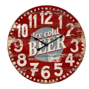 Clock French Country Vintage Wall Ice Cold Beer Man Cave Wood Large 60cm New