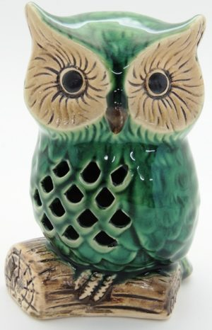 French Country Ornament Emerald Green Owls on Log Collectable Gift Idea Assort Size New