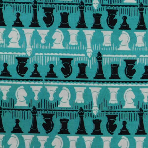 Patchwork Quilting Sewing Fabric Chess Players Blue 50x55cm FQ New Material