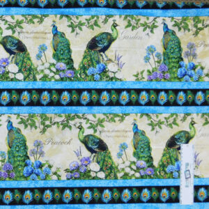 Patchwork Quilting Sewing Fabric Hydrangeas Peacock Border 50x55cm FQ New Material
