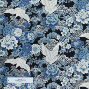 Patchwork Quilting Sewing Fabric Japanese Crane Metallic 50x55cm FQ New