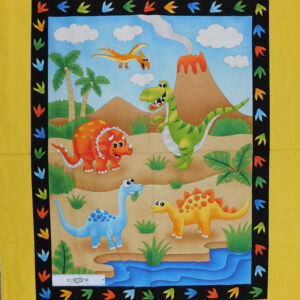 Patchwork Quilting Sewing Fabric Dinosaur World Panel 90x110cm New Material