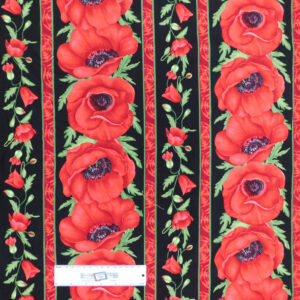 Patchwork Quilting Sewing Fabric Large Poppy Border 50x55cm FQ New Material