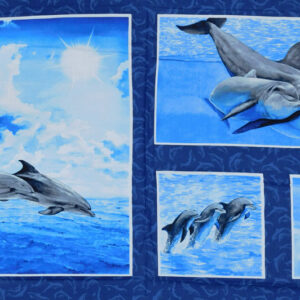 Patchwork Quilting Sewing Fabric Dolphins Panel 60x110cm New Cotton Material