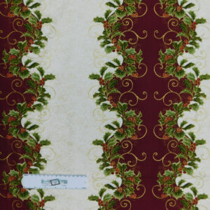 Patchwork Quilting Sewing Fabric Christmas Maroon and Cream Border 50x55cm FQ New