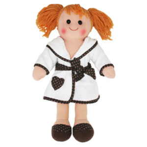 Lovely Soft Rag Doll Amelia, Dressed in a Bathrobe Girl Dolly 38cm New
