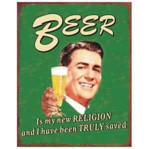 Country Tin Sign Vintage Inspired Wall Art Beer is My Religion Plaque 24 x 19cm NEW
