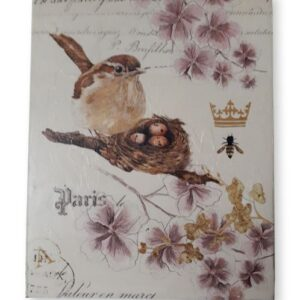 Country French Inspired Wall Art Paris Bird with Nest Floral Wooden Print New