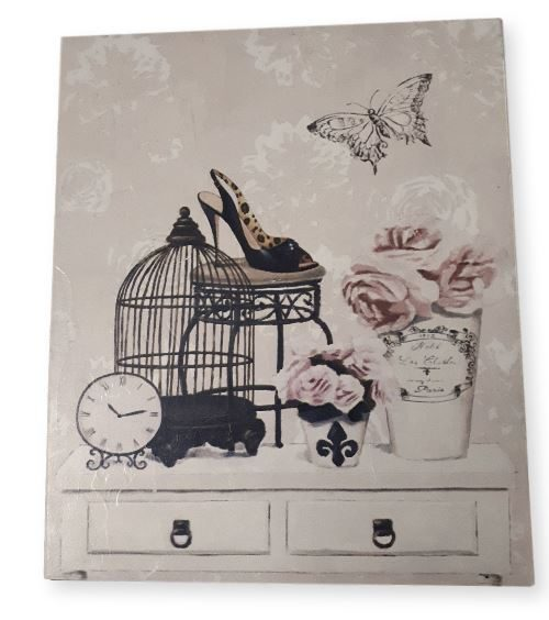 Country French Inspired Wall Art Birdcage Floral Wooden Print ...