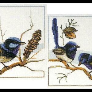 Country Threads Cross Stitch Kit Blue Wrens Set of 2 Birds New FJ1062